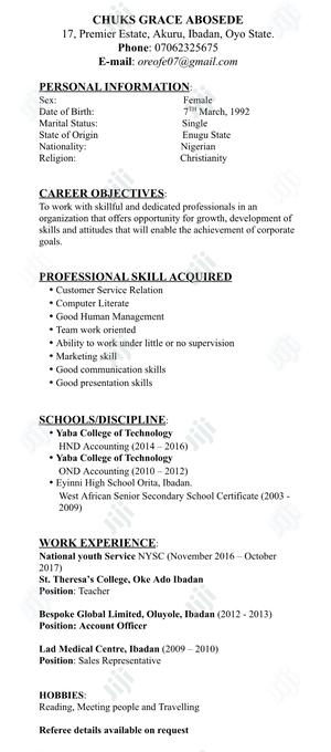 Accounting & Finance CV | Accounting & Finance CVs for sale in Oyo State, Ibadan