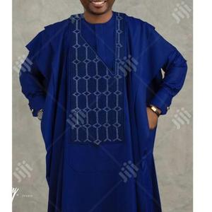 Men Long Sleeve Agbada-Blue With Matching Embroidery   Clothing for sale in Lagos State, Ojodu