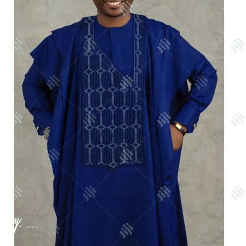 Men Long Sleeve Agbada-Blue With Matching Embroidery