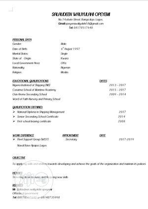 Customer Service CV   Customer Service CVs for sale in Lagos State, Victoria Island
