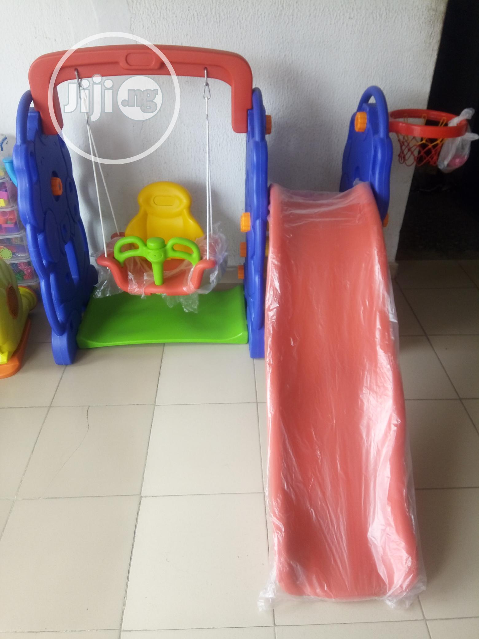 Children Playground Swing Set With Slide Basketball Hoop