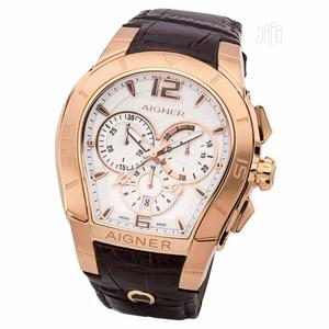 Aigner Chronograph Rose Gold Leather Strap Watch | Watches for sale in Lagos State, Lagos Island (Eko)