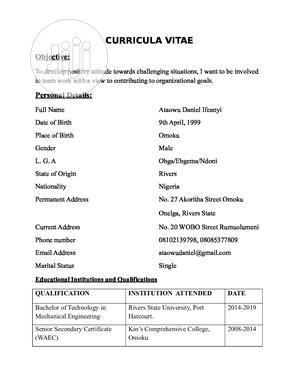 Travel & Tourism CV   Travel & Tourism CVs for sale in Rivers State, Port-Harcourt
