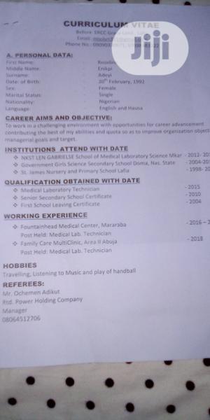 Hotel CV | Healthcare & Nursing CVs for sale in Nasarawa State, Lafia