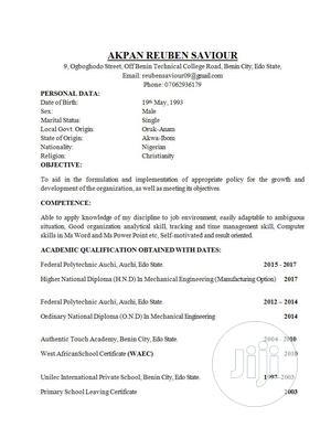 Hotel CV | Hotel CVs for sale in Edo State, Benin City