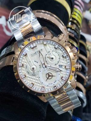Cartier Chronograph Rose Gold/Silver Chain Watch | Watches for sale in Lagos State, Lagos Island (Eko)