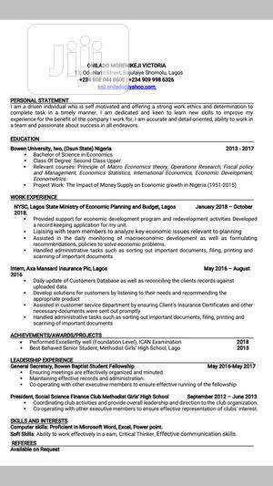 Accounting & Finance CV | Accounting & Finance CVs for sale in Lagos State, Shomolu