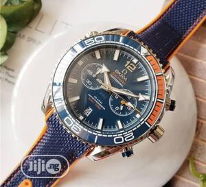 Omega Chronograph Silver/Blue Leather Strap Watch | Watches for sale in Lagos State, Lagos Island (Eko)