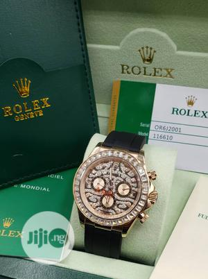 Rolex Daytona Chronograph Ice Head Rose Gold Leather Strap Watch | Watches for sale in Lagos State, Lagos Island (Eko)