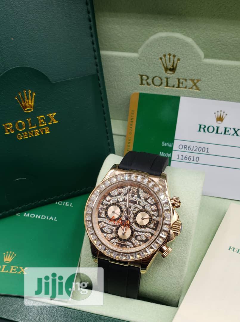 Rolex Daytona Chronograph Ice Head Rose Gold Leather Strap Watch