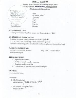 Customer Service CV | Customer Service CVs for sale in Niger State, Suleja