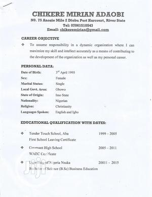 Customer Service CV | Clerical & Administrative CVs for sale in Rivers State, Port-Harcourt