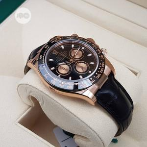 Rolex Oyster Perpetual (DAYTONA) Rose Gold/Black Leather Strap Watch | Watches for sale in Lagos State, Lagos Island (Eko)