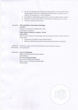 Secretary Female CV | Customer Service CVs for sale in Lagos State, Ikoyi
