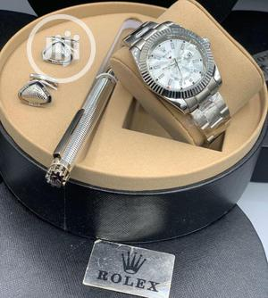Rolex Oyster Perpetual Silver Chain Watch With Cufflinks and Pen   Watches for sale in Lagos State, Lagos Island (Eko)