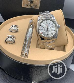 Rolex (SKY-DWELLER) Silver Chain Watch With Cufflinks and Pen   Watches for sale in Lagos State, Lagos Island (Eko)