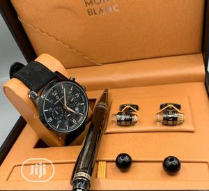 Montblanc Chronograph Black Leather Watch With Cufflinks and Pen | Watches for sale in Lagos State, Lagos Island (Eko)