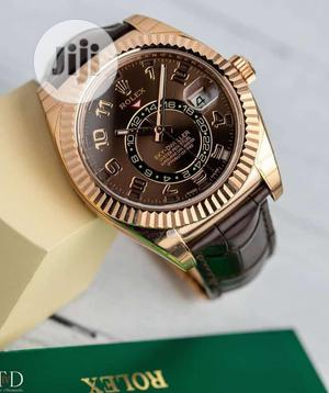 Rolex (SKY-DWELLER) Rose Gold Leather Strap Watch | Watches for sale in Lagos State, Lagos Island (Eko)