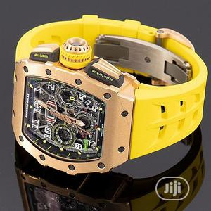 Richard Mille Chronograph Rose Gold Yellow Rubber Strap Watch | Watches for sale in Lagos State, Lagos Island (Eko)