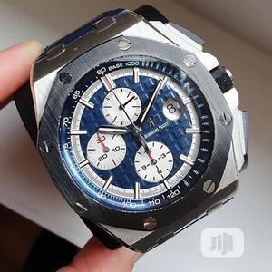 Audemars Piguet Chronograph Silver/Black Leather Strap Watch | Watches for sale in Lagos State, Lagos Island (Eko)