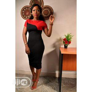 Elegant Short Sleeve Ladies Red And Black Dress   Clothing for sale in Lagos State, Ikoyi