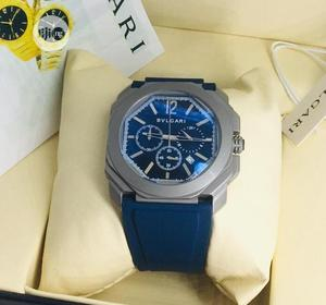 Bvlgari Chronograph Silver Blue Rubber Strap Watch | Watches for sale in Lagos State, Lagos Island (Eko)