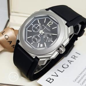Bvlgari Chronograph Silver Rubber Strap Watch | Watches for sale in Lagos State, Lagos Island (Eko)