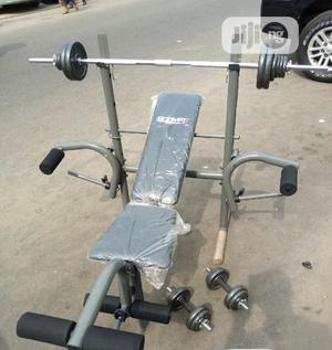 Weight Bench With 50kg Barbell And Dumbell | Sports Equipment for sale in Lagos State