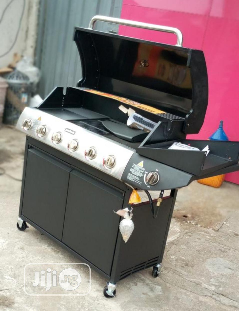 6 Burner Gas Barbeque Grill With Side Grill