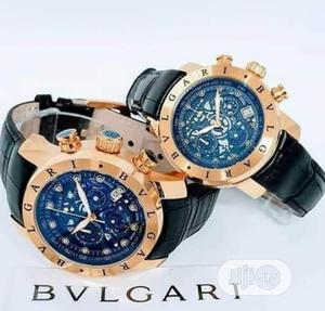 Bvlgari Chronograph Rose Gold Leather Strap Watch for Couple's | Watches for sale in Lagos State, Lagos Island (Eko)