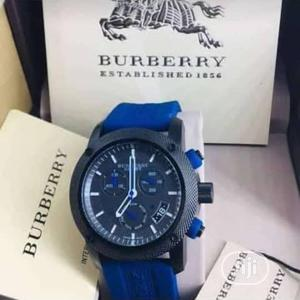 Burberry Chronograph Blue Rubber Strap Watch | Watches for sale in Lagos State, Lagos Island (Eko)