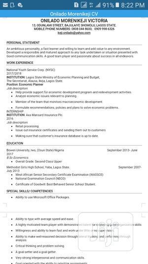Graduate Trainee   Internship CVs for sale in Lagos State, Shomolu