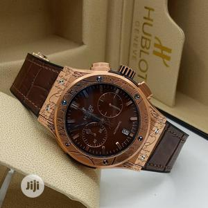 Hublot Chronograph Rose Gold Leather Strap Watch | Watches for sale in Lagos State