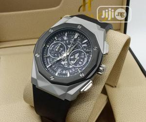 Hublot Chronograph Silver/Black Rubber Strap Watch | Watches for sale in Lagos State