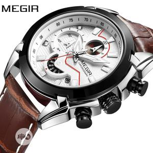 Top Brand MEGIR Luxury Leather Army Men Chronograph Wrist Watch   Watches for sale in Lagos State, Surulere