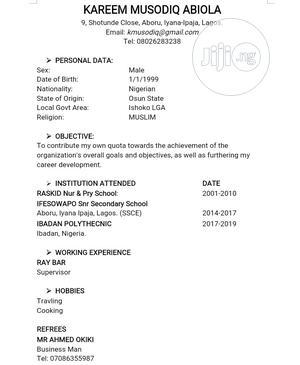 Sales & Telemarketing CV | Restaurant & Bar CVs for sale in Lagos State, Alimosho