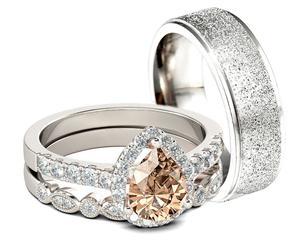 Citrine Crystal Drop Wedding Ring Set | Wedding Wear & Accessories for sale in Lagos State, Ikorodu