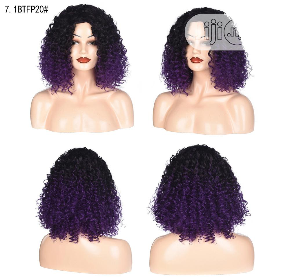 Black Deep Purple Short Hair Sliky Wigs