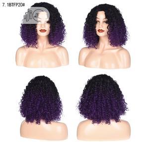 Black Deep Purple Short Hair Sliky Wigs | Hair Beauty for sale in Lagos State, Ikoyi
