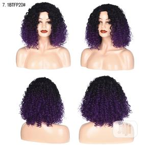 European And American Short Curly Black Deep Purple Hair Wigs | Hair Beauty for sale in Lagos State, Victoria Island