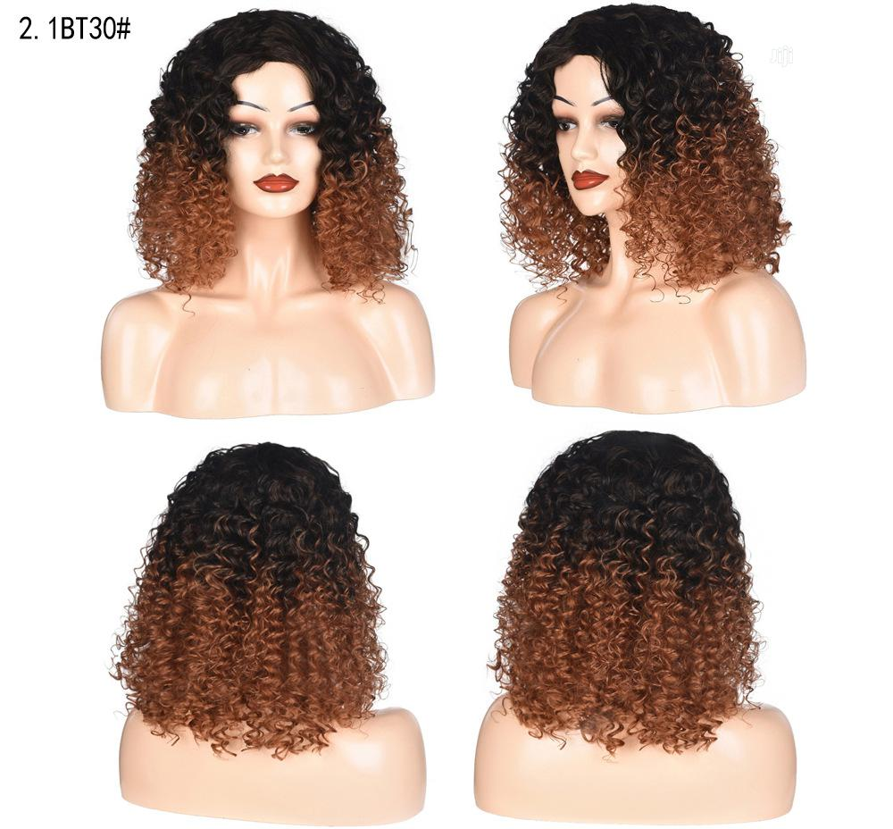Black Light Brown Soft Curly Short Wig