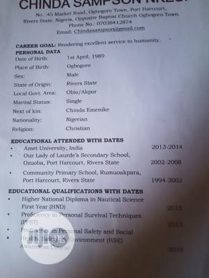Work Advert   Manufacturing CVs for sale in Rivers State, Obio-Akpor