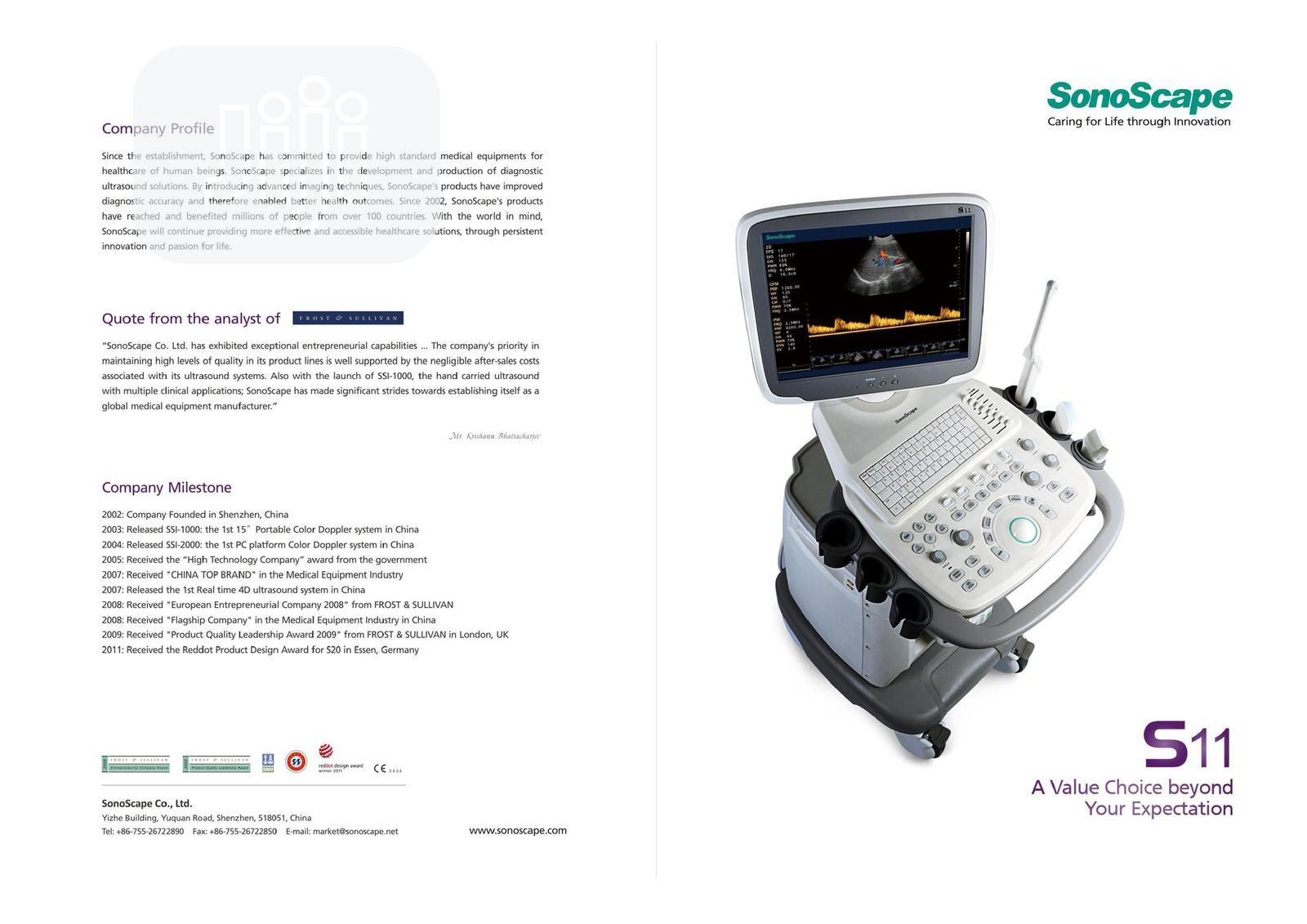 Archive: Sonoscape S11 Color Doppler Ultrasound Machine With 2 Probes