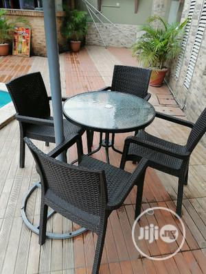 Imported Strong Glass Umbrella Table With Chairs   Furniture for sale in Lagos State, Ajah