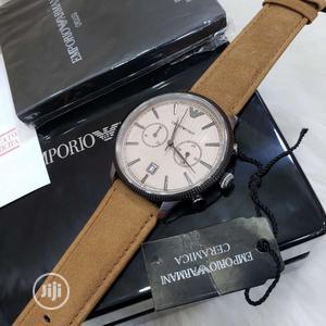 Emporio Armani Chronograph Silver/Black Leather Strap Watch | Watches for sale in Lagos State, Lagos Island (Eko)