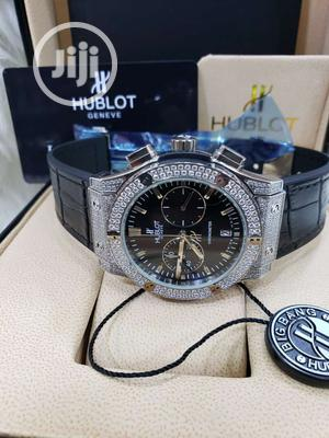 Hublot Chronograph Full Ice Silver Leather Strap Watch | Watches for sale in Lagos State, Lagos Island (Eko)