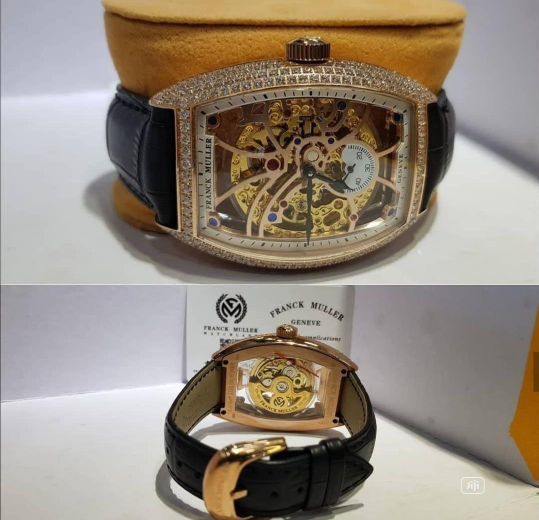 Franck Muller Automatic Full Ice Rose Gold Leather Strap Watch
