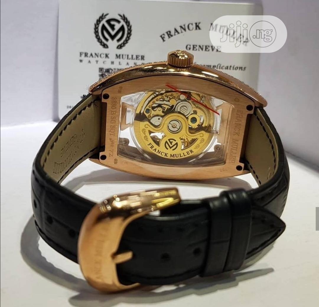 Franck Muller Automatic Full Ice Rose Gold Leather Strap Watch | Watches for sale in Lagos Island (Eko), Lagos State, Nigeria