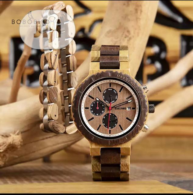 BOBO BIRD Wood Watch Bracelet Set for Men Chronograph Wristwatch