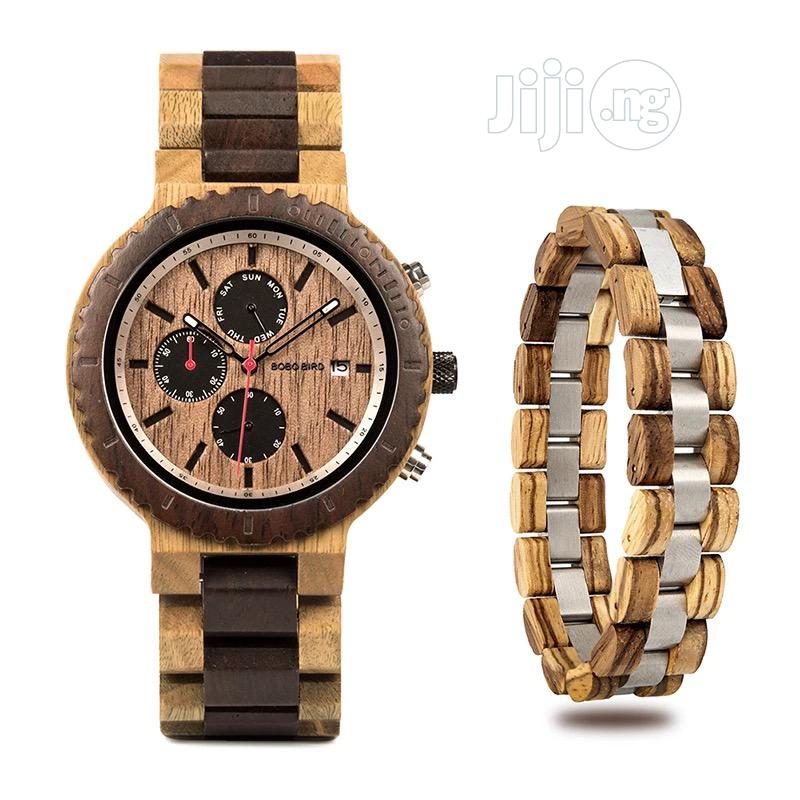 BOBO BIRD Wood Watch Bracelet Set for Men Chronograph Wristwatch   Watches for sale in Surulere, Lagos State, Nigeria